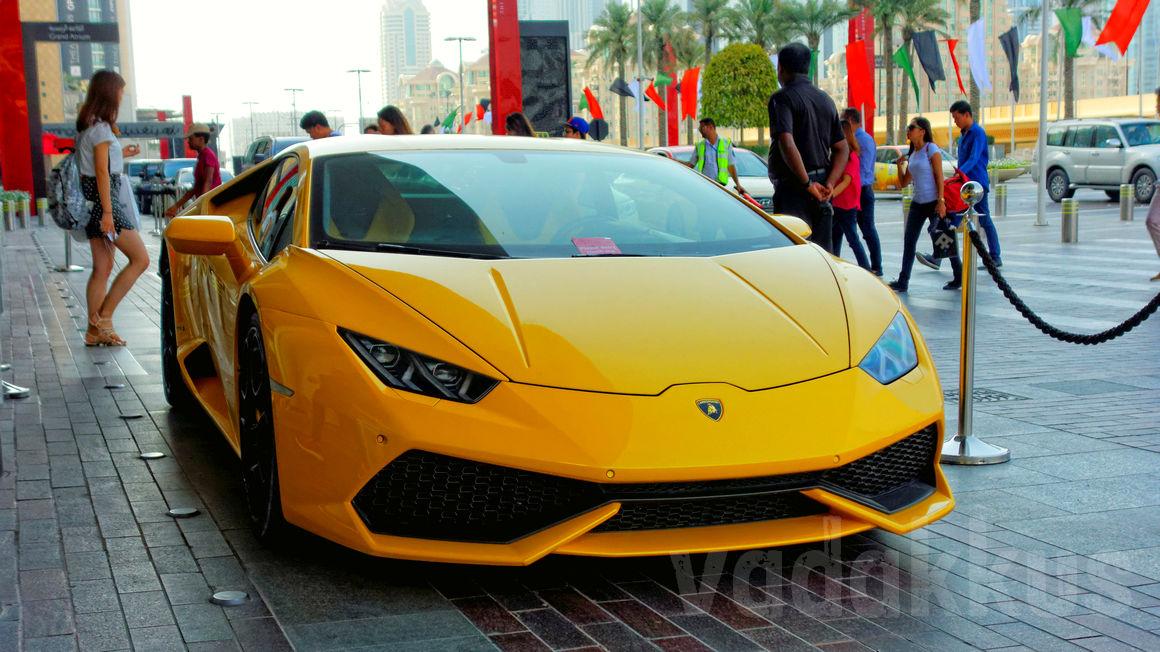 A yellow Lamborghini Huracan seen in Dubai