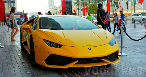 A yellow Lamborghini Huracan seen in Dubai