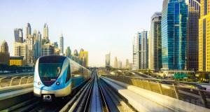 `The Dubai Metro Red line train near Dubai Marina Mall and Jumeirah Lake Towers