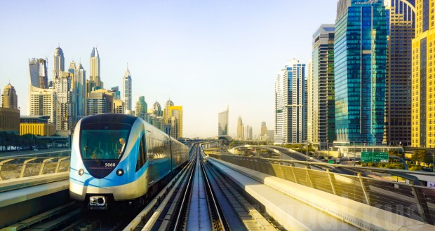 `The Dubai Metro Red line train near Dubai Marina Mall and Jumeirah Lake Towers