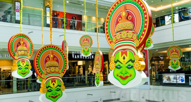 Colorful Kathakali face cutout models hung inside Lulu Mall Ernakulam as part of Onam celebrations