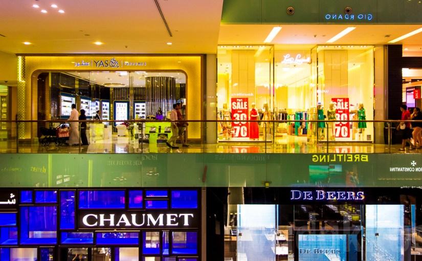 A split level view of shops inside the Dubai Mall