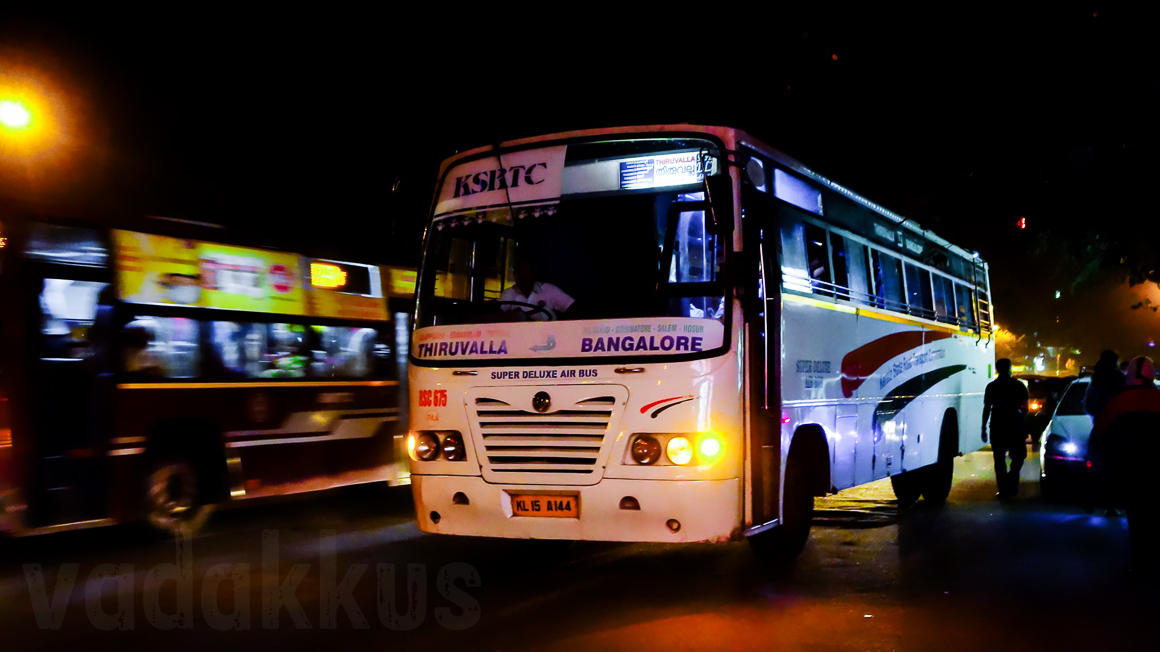 KSRTC's Bangalore - Thiruvalla Super Deluxe RSC 675 at Madiwala bus stop