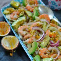 Salade Fenouil,Avocat,Crevettes,Oignons Rouges,Passion