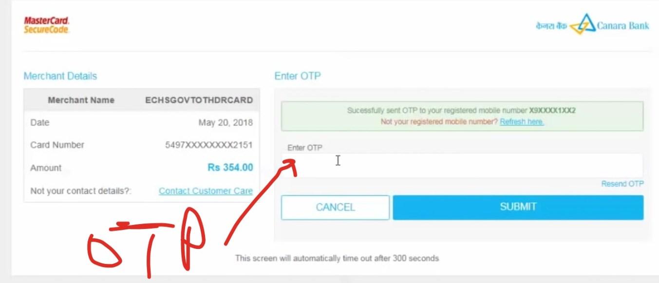 ECHS Card payment