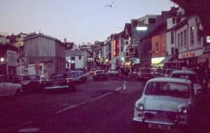 Seaside town at dusk