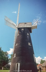 A black windmill