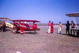A red biplane