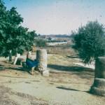 Woman by Stone pillars