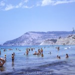 Bathers in the sea at Calpe beach in August 1971
