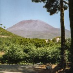 A picture of mount Vesuvius in Italy taken in August 1953
