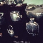 Museum display of silver or pewter objects in China