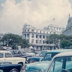 Cars parked at Raffles Place in Singapore in the early 1960s