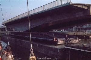 A Swing bridge open to allow river traffic