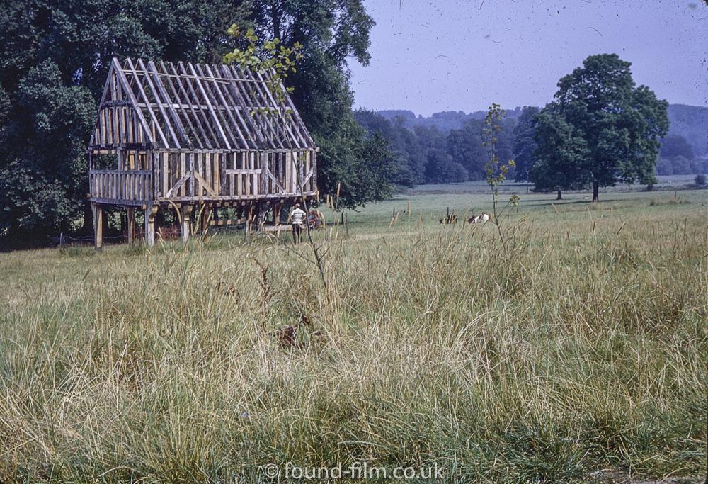 Wooden cottage beams at Weald & Downland Museum, Sussex, September 1972