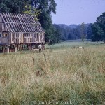 Wooden cottage beams at Weald & Downland Museum, Sussex, September 1972