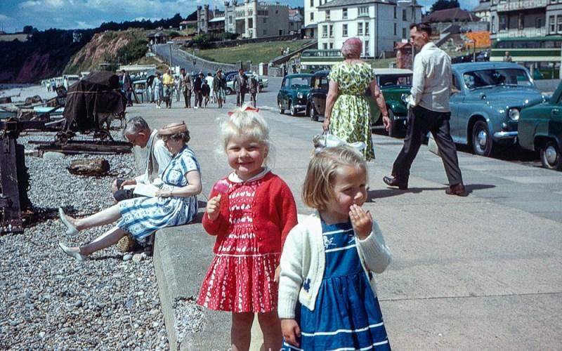 little girls by seaside