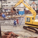 Large digger at construction site in June 1990