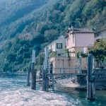 A picture of the jetty just after a Boat has pulled away for a Trip from Lugano c1961