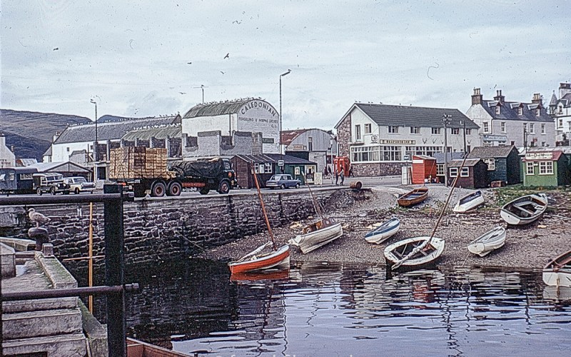 Boats and lorries at Ullapool Harbour in 1967