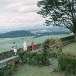 Three women look out from Stirling Castle