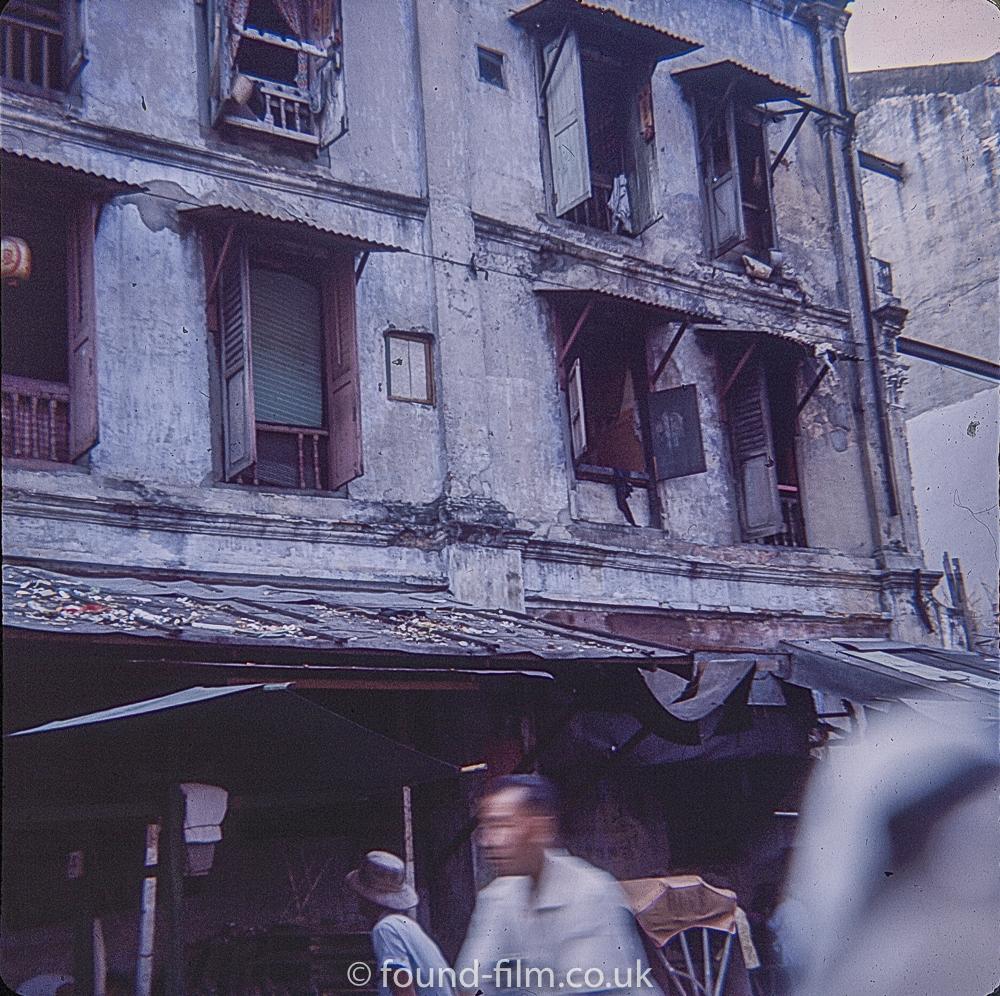 Run down and dilapidated housing Singapore 1960