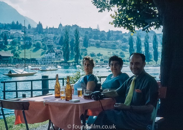 Pictures of Lakes and Mountains in Europe - Group enjoying a Beer by the lake on holiday