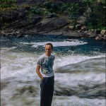 kodachrome red border colour slides - Portrait standing by a river
