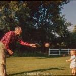 kodachrome red border colour slides - Man throwing a ball to a little girl