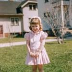 kodachrome red border colour slides - Little girl portrait on a lawn