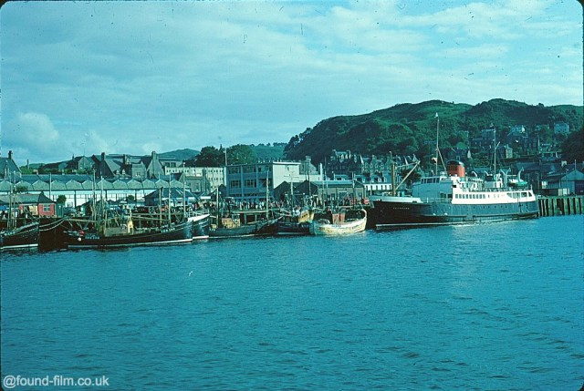 A Kodachrome slide of the car ferry and fishing boats in Oban harbour in August 1967
