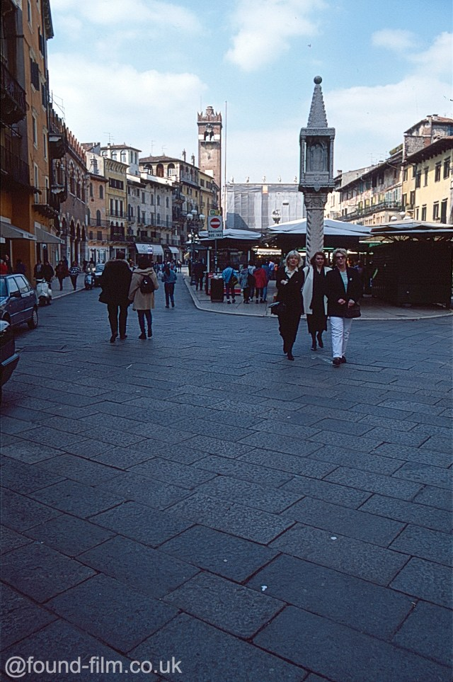 A picture of a market place in Venice taken in April 1996