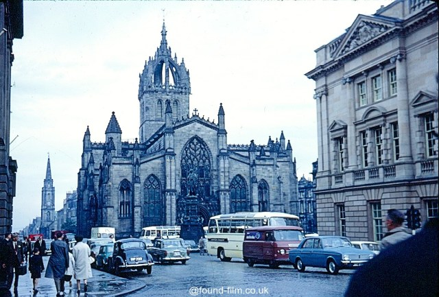 A Kodachrome slide of St Giles Cathedral in Edinburgh on a wet day in July 1967