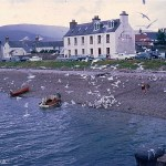A picture of Ullapool featuring the Bay View guest house taken in August 1967