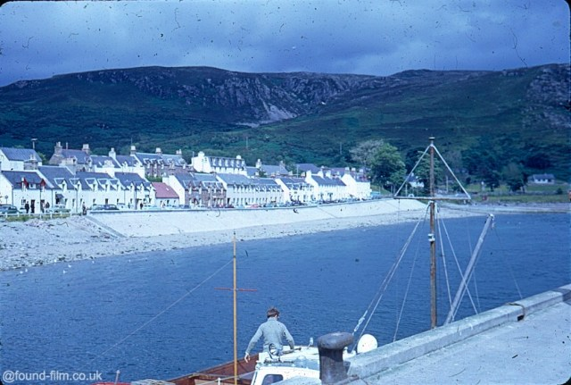 A Kodachrome slide of the houses at Ullapool viewed from the quay where the fishing boats offloaded fish