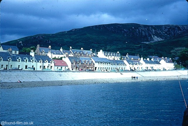 A Kodachrome slide of the houses along the seafront taken in Ullapool in August 1967