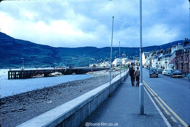 A Kodachrome slide of the main street by the sea in Ullapool taken in August 1967