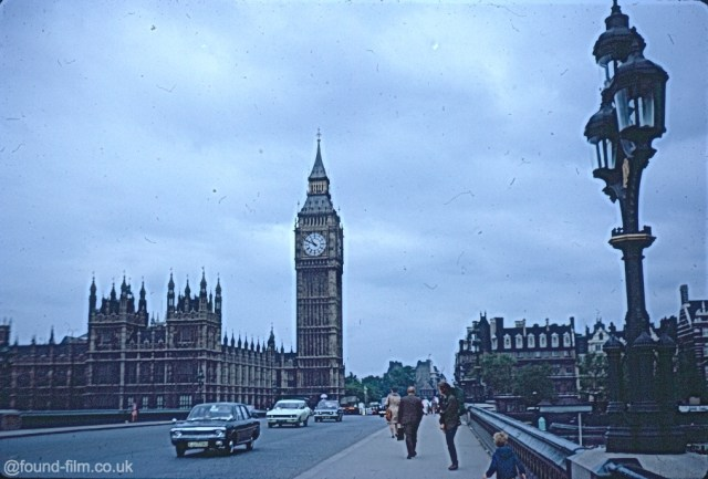 Big Ben in London and Traffic on the bridge from August 1972