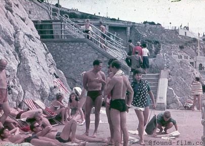 Bathers at a seaside in the late 1950s