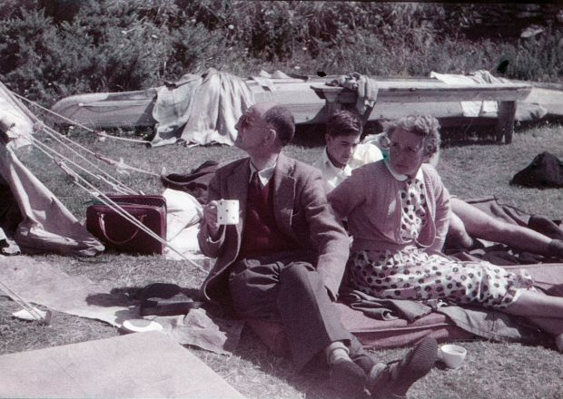 A Family group camping in the mid 1950s