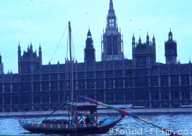 Odd boat by the Houses of Parliament