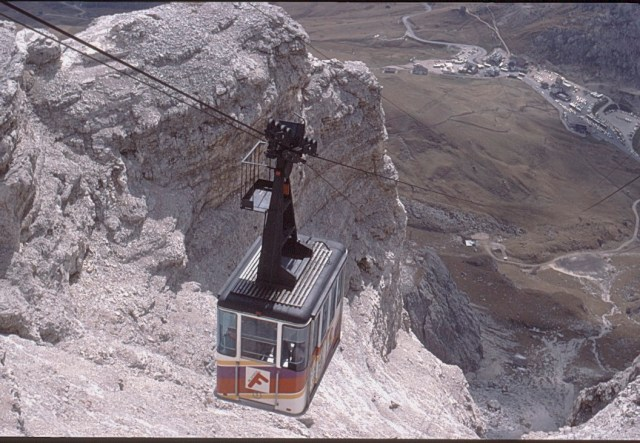 A Cable car in the mountains around Lake Garda in Italy