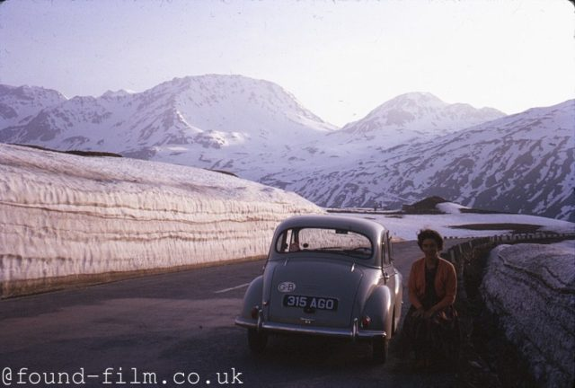Morris Minor parked on road - about 1962