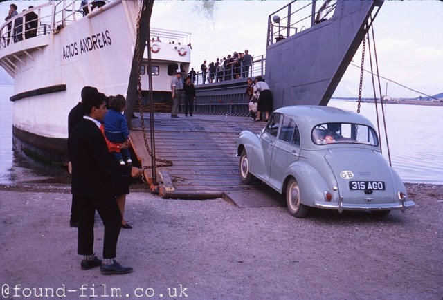 Morris Minor driving onto a ferry - 1962