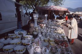 Shopping at a market stall near Lake Garda, Italy 1993