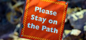 a sign saying please stay on the porch