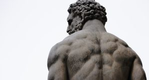 Statue of man with his back turned
