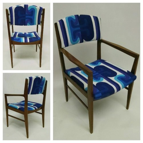 Walnut Occasional Chair with Pop Fabric