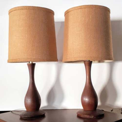 Turned Teak Lamps