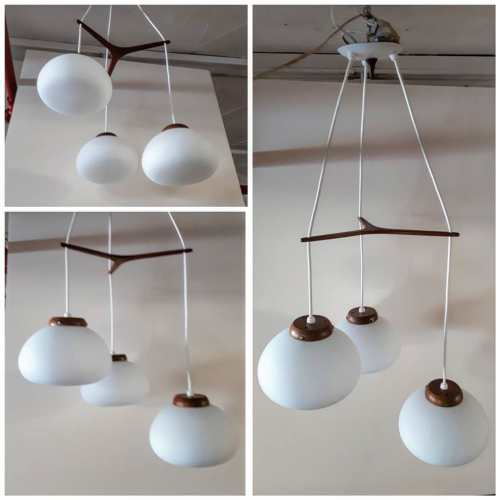 Teak and Frosted Glass Fixture